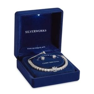 Belk's Sliver Work Crystal Earring & Bracelet Set